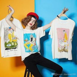 Hand Painting Fashion Brands Australia - New fashion brand graffiti museum series hand-painted figures like graffiti short-sleeved T-shirts for men and women