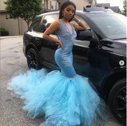 Wholesale Sweep Strain Mermaid Prom Dresses New Lace Applique Beading Illusion V Neck Sleeveless Formal Evening Dress Custom Made Plus Size