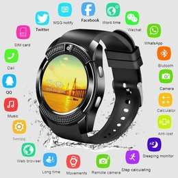 Bluetooth Smart Watch Sim Australia - Bluetooth V8 Smart watch 1.22 inch Touch Screen Sleep Tracker Camera Passometer SIM TF Card 0.3 MP Camera PK DZ09 A1