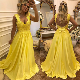 4c64b91c16 african print prom dresses 2019 - Sexy Backless Straps Yellow Prom Dresses  A Line New 2019