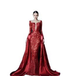 Elegant Evening Formal Dresses 2019 Deep Red Sexy V Neck Capped Long Sleeves  Lace Prom Dresses With Overskirts Satin Cocktail Party Dresses 00948ac0ed78