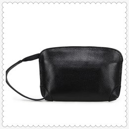 Black envelop online shopping - 2019 Women Casual Fashion Genuine Leather Mini Envelop Clutch Bag with Wristlet and Zipper