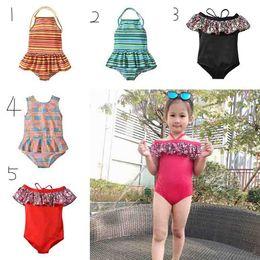 f86fedf9b8 Children Striped Floral Print Swimwear Summer Baby Beach Ruffle Off  shoulder Bathing Suit Bikini Kids One Pieces Swimsuit