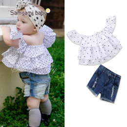T Shirts New Words Australia - 2019 children's clothing summer new baby girl cute word shoulder point t shirt + denim shorts kids clothes top pant