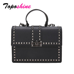 $enCountryForm.capitalKeyWord Australia - Toposhine Rivets Women Shoulder Bag Black Cover Girls Handbag Square Rivets Madam Ladies Bags Support Drop Shipping Wholesale J190513