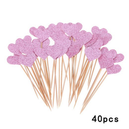 $enCountryForm.capitalKeyWord Australia - 40pcs set Colored Bling Heart Shape Cupcake Toppers Insert Cards Wedding Birthday Party Gifts Cake Decorations