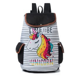 48faeef20a4b good quality Cartoon Unicorn Printed School Backpack For Teenager  Drawstring Deisgn Female Travel Rucksack Canvas Backpack Lady