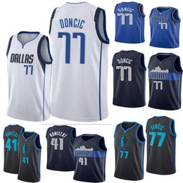 8d1ec4588e96 2019 New Luka 77 Doncic Jersey Kristaps 6 Porzingis Dirk 41 Nowitzki Dennis  1 Smith Stitched Basketball Jerseys