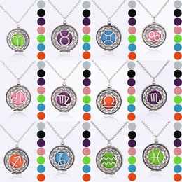 Discount mens lockets pendants - 12 Zodiac Signs pendant Aromatherapy Necklaces Essential Oil Diffuser Open constellation Locket chains For women Mens Fa