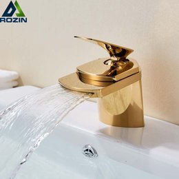 $enCountryForm.capitalKeyWord Australia - Golden Waterfall Spout Basin Vessel Sink Faucet Deck Mount Golgen Brass Hot Cold Mixer Tap for Bathroom Chrome Vanity Sink Tap