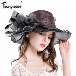 $enCountryForm.capitalKeyWord Australia - [TIMESWOOD] Luxurious Ladies Formal Hats Floppy Flower Sun Hats New For Women Wide Brim Silk Church Organza Caps Brand Wholesale