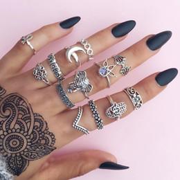 $enCountryForm.capitalKeyWord Australia - Hot Fashion Jewelry Ancient Silver Gold Knuckle Ring Set Flower Elephant Crescent Stacking Rings Midi Rings Set 13pcs set S340