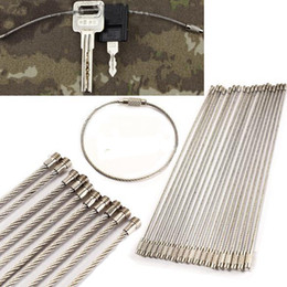 $enCountryForm.capitalKeyWord Australia - 5Pcs EDC Stainless steel wire keychain ring key keyring circle rope cable loop outdoor camp lage tag screw lock gadget