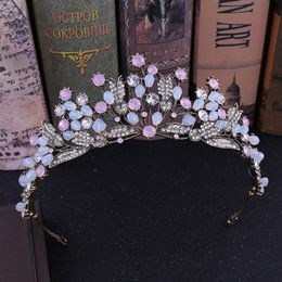 Crystal Drop Ornaments Australia - Vintage Queen Princess Tiaras And Crowns Wedding Bridal Diadem Hair Ornaments For Women Gold Pearls Crystal Hair Jewelry Pageant