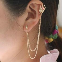 $enCountryForm.capitalKeyWord Australia - Punk Rock Skeleton Bone Hand Clip Earrings For Women Gold-Color Skull Ear Cuff Earrings Halloween Jewelry