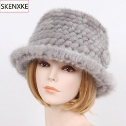 russian beanies UK - 2019 New Winter Lady 100% Natural Hats Knitted Warm Genuine Cap Russian Women Outdoor Real Hat 2ess#