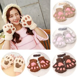 Female Cat Woman Costume Australia - Women Female Gloves Mitten Cute Women Cat Claw Mitten Plush Glove Costume Cute Winter Half Finger Novelty Gloves