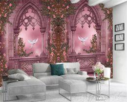 Wedding pigeons online shopping - Customized Wallpaper For Walls Home Decoration European Rose Roman Column Pigeon