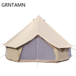 $enCountryForm.capitalKeyWord Australia - Cotton Canvas Bell Tent Waterproof tipi Luxury Family Tent with Stove Jacket on the wall Music Festival tents, 3m to 6m Rated