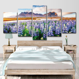 Discount beautiful flower for oil painting - Canvas Art Print Painting Poster Wall 5 Panel Beautiful Flowers Modular Picture For Home Decor Painting Kids Room