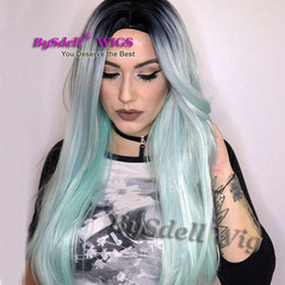 hair mint Australia - long straight black root ombre mint green color hair wig two tone ombre color hair female cosplay party wigs