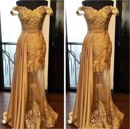 $enCountryForm.capitalKeyWord Australia - Pleated Custom Made Lace Beaded Off Shoulder Real Image Gold Prom Dresses Sheath Pageant Formal Party Evening Gowns Transparent Tulle 2020