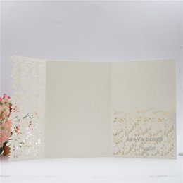 China Elegant Shimmery Ivory Lace Flower Laser Cut Wedding Invitation Card Tri-fold Laser Pocket With Free Printed Wedding Insert Free Shipping cheap wedding pocket card invitations suppliers