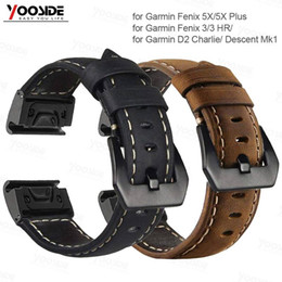 Venta al por mayor de For Garmin Fenix 5X Correa de cuero genuino de ajuste rápido con correa de reloj de 26 mm para Garmin Fenix 5X / 5X Plus / 3/3 HR / D2 / Descent Mk1