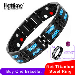 $enCountryForm.capitalKeyWord Australia - Hottime Double Row 4 In 1 Bio Elements Energy Bracelet Blue Carbon Fiber Magnetic Titanium Bangles & Bracelets Gift For Man J190625