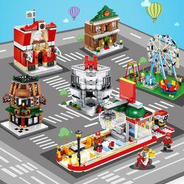Block Stores Australia - SEMBO Micro street DIY Building Blocks SD6508-SD6515 Mini Store Shop 3D with Lighting Auction Model Kids toys Bricks Gift