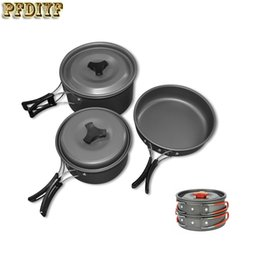 fry pans set NZ - Pfdiyf 1 Set Outdoor Aluminium Alloy Camping Hiking Cookware Bowl Pot Pan Set Camping Kitchen Tools Camping Cookware Set Picnic