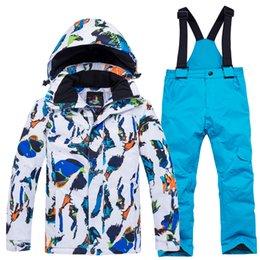 Waterproof Suit Kids Australia - Waterproof Windproof Winter Jacket and Pants Kids Ski Suits Ski Jacket and Trousers Children Snowboard Suit Kids Snow Clothes