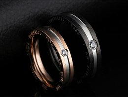 womens valentines gifts 2019 - Novelty Mens Black Titanium Stainless Steel Couple Wedding Bands for Him and Her Womens Rhinestone CZ Valentines Day Pro