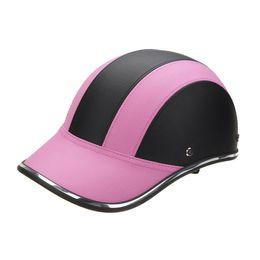 Pink Half Helmet NZ - Black Pink Motorcycle Half Face Sun Shade Helmet Baseball Cap For Bike Safety Unisex Protect Summer Helmet Racer Helm Matte