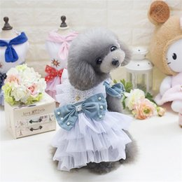 bored hair UK - European And American Dog Skirt Aristocratic Denim Skirt Than Bear Vip Bow Skirt Pet Clothing Supplies