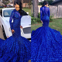 long tailed t shirts UK - Luxury Royal Blue 2019 Black Girls Prom Dresses with Long Tail High Neck Long Sleeves Beaded Lace Bodice 3D Rose Flowers Evening Gowns