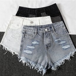Jeans Short Jeans Women 2019 Spring Summer Womens Out Wear New Style Ripped Hole Hot Drill High Waist Slim Jeans Shorts Hot Pants