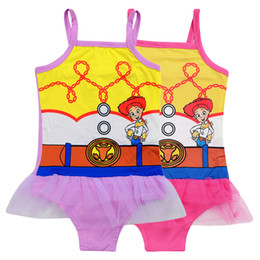 Discount geometric one piece swimsuits - kids swimwear 2 Colors Toy Printed 3-10t Baby Girls one piece swimsuit Girls designer swimwear bikini DHL SS293