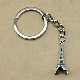 $enCountryForm.capitalKeyWord Australia - 1 Piece Keychains For Men 3D Eiffel Tower Fashion Jewelry Birthday Gift 29x11x11mm Pendant Antique Silver
