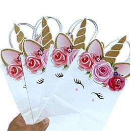 Wholesale Boxes Packaging Australia - Unicorn Mermaid Paper Bags Children Candy Gift Box Handbags For Kids Festival Party Birthday Wedding Toys Gifts Cartoon Packaging Bag A51701