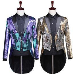 $enCountryForm.capitalKeyWord NZ - 2018 Newest Sequins Men's Jacket Shiny Purple Gold Shawl Collar Tuxedo Men Wedding Groom Coat Costumes