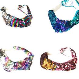 BaBy girl wedding headBands online shopping - Kids Girls Mermaid Headbands Baby Sequined Hairband Children Hair Accessories Sequin Headband Reversible Elastic Headwrap color