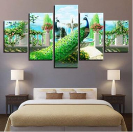 wall beds more 2019 - Wall Art Canvas Pictures 5 Panels Modern Landscape Peacock No Frame Painting Canvas Art Wall Picture For Bed Room Unfram
