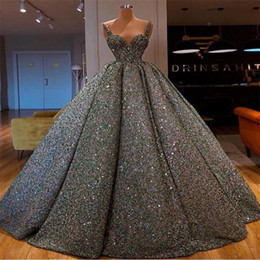 glitter evening gowns Canada - Glitter Ballroom Evening Dresses Spaghetti Sleeveless Ruffle Sequined Sweep Train Long Prom Dresses Custom Made Formal Party Gowns