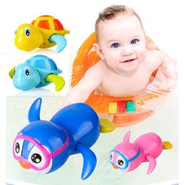 turtle bath toys 2019 - New Fashion Newborn Cute Cartoon Animal Tortoise Baby Bath Toy Infant Swim Turtle Chain Clockwork Classic Toys Kid Educa