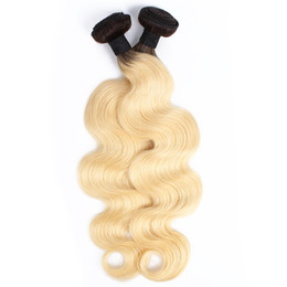 Chinese  Brazilian Ombre Blonde Body Wave Hair Weave Bundles 1B 613 Dark Roots Peruvian Indian Malaysian Human Hair Extensions 2 Bundles 10-28 inch manufacturers