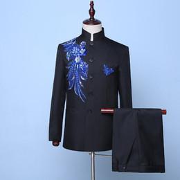 Court Suit Australia - 18th Century European Court Black Wedding Men's Suits Black Sequins Nightclub Singer Performance Costumes(Jacket+Pants)