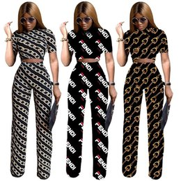 Discount f clothes - F Letter Tracksuit 3 Styles Women Short Sleeve Shirt Pants 2pcs set Digital Printed Clothing Set LJJO6761
