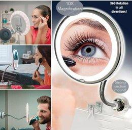 Опт Гибких зеркал для макияжа вращение 360 градусов гусиная шея 10x увеличительное светодиодные ванная комната макияж зеркало для бритья туалетных принадлежностей K350