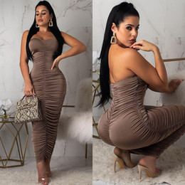 Wholesale Strapless Pleated Bodycon Party Dresses Women Sexy Coffee Wrap Slim Midi Night Club Prom Dress Pullover Brown Sheath Column Dress